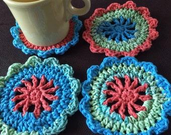 Crochet coasters - Four Crochet Coasters - drink coasters - Handmade crochet coaster - Handmade drink coasters - coaster set