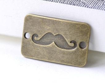 Moustache Connector Antique Bronze Rectangle Bracelet Charms 17x27mm Set of 10 A8122