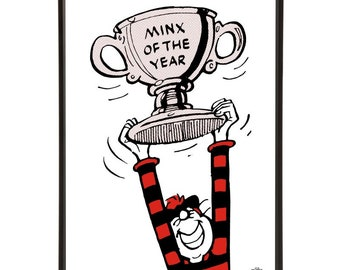 Minx of the Year Trophy Pop Art with the Beano's Minnie the Minx proudly holding up her award
