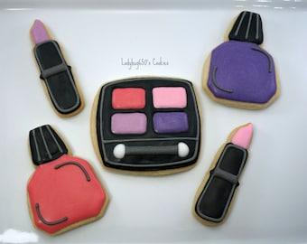 12 Eyeshadow, lipstick and nail polish makeup cookies, handmade & iced