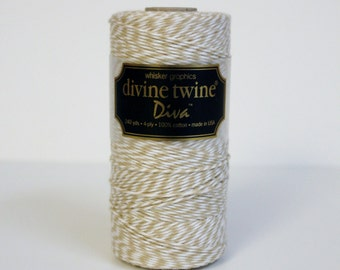 SALE 20% OFF - Wheat & White DIVA Collection Divine Twine 240 Yards Spool of Bakers Twine by Whisker Graphics