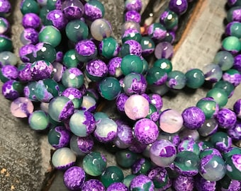 8mm Green & Purple Fire Agate Faceted Round Beads Jewelry Supply Green Beads Green Gemstone