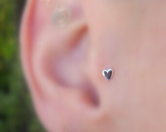 Tragus Earring - Nose Stud - Cartilage Earring - Sterling Silver Valentine Heart Tragus Stud - Tragus Piercing