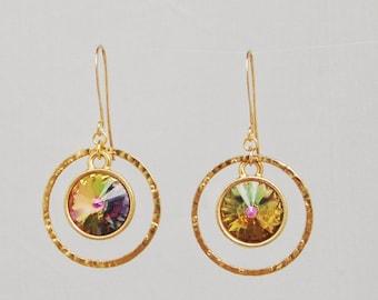 Swarovski earrings - hoop earrings - swarovski rivoli crystal earrings - choice of colours - gift for her