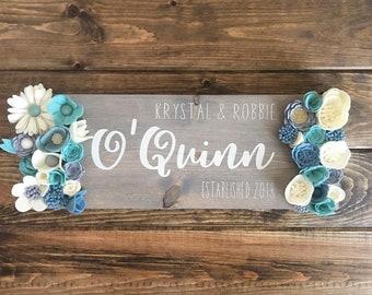 Family Established Wood Sign with Felt Flowers, Personalized, Custom, Home Decor, Farmhouse, Rustic, Bridal Shower, Wedding, Gift Idea