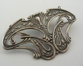 Art Nouveau Pendant - Vintage Brass - DIY Necklace