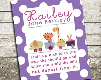 Custom Baby Girl Bible Verse Wall Art Print - Train Up a Child In the Way She Should Go - Nursery Print, Gift for Baby, Shower Gift
