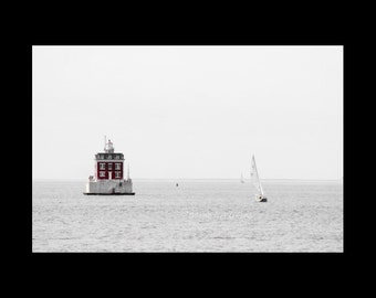 Lighthouse Print-Coastal Art-Beach Art-Fine Art Photography-Nautical Print-Sailboat Photograph-Red/Gray Fine Art Wall Print-20x30-Wall Art