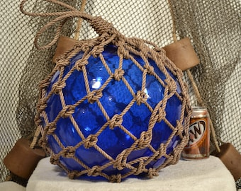 Vintage Japanese Glass Fishing Float In Blue Glass  By Ship Breakers Nautical