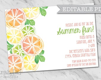 Citrus fruit invitation, Summer party invitation, Pool party invitation, Birthday invitation, Summer birthday invitation, Fruit invitation