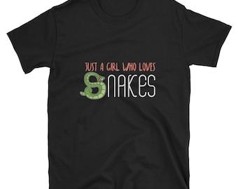 Snake Shirt, Snake Lover Gift, Animal Shirt, Snake Tees, Pet Snake Shirt, Snake Lover Shirt, Snake Gift, Just A Girl Who Loves Snakes