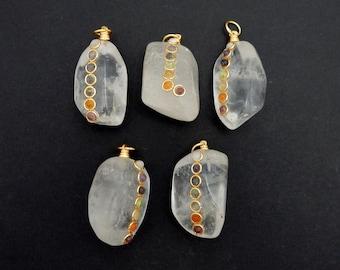 Tumbled Stone Chakra Pendant - Tumble Crystal Quartz Pendant with Chakra Gold Tone Accent and Bail (TS-118-04)