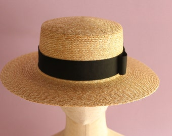 """Straw Boater hat with wide brim """"Fred"""""""