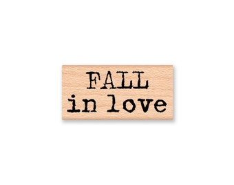 FALL in love~Rubber Stamp~Anniversary Stamp~Fall and Autumn Decor~Wood Mounted Rubber Stamp by MountainsideCrafts (23-09)