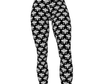 Skull + Sombrero Pattern, High Waist Women's Yoga Pants