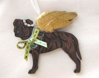 Hand-Painted PITBULL BRINDLE Gold Feathered Wing Angel Wood Christmas Ornament.....Artist Original
