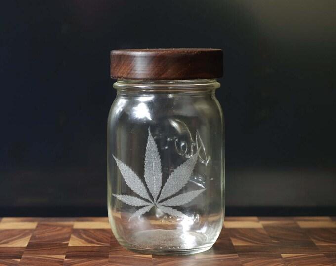 Stash Jar - One Pint - Beautifully Engraved - Custom Wooden Screw Top.