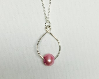 Pink 10mm Fresh Water Pearl Silver Wire Handmade Necklace