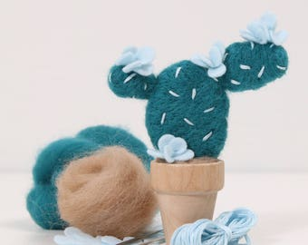 Needle Felting Downloadable PDF // Prickly Pear // Needle Felting, Cactus Craft, Desert DIY Craft, Roving, Tutorial, Instructions, Pictures