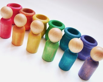 Little People Rainbow World - A Montessori and Waldorf Inspired Wooden Materials Learning Toy