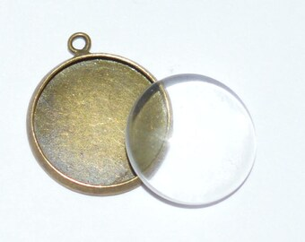 20 pieces: 10 blank pendants 16mm + 10 glass cabochons