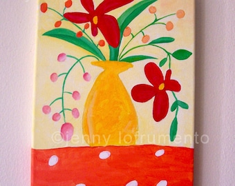"""Summer Bouquet Acrylic Painting on Canvas 8"""" Wide x 10"""""""