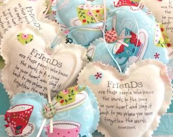 Floral Heart, Hanging Heart, Scented Lavender Heart, Lavender Heart, Floral Fabric Heart, Home Decor - Teacups & Birds [#16]
