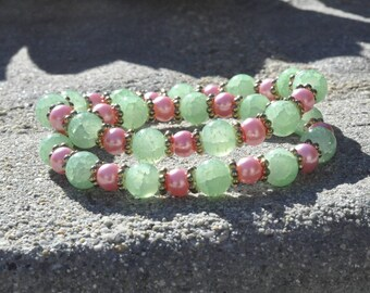 Jaded: Pink glass pearls and green Jade like glass beads with golden accents