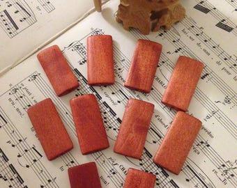 Set bead flat wooden Orange