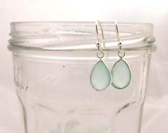 Sterling Silver Blue Chalcedony Dangle Earrings Wedding Bridesmaid Birtday Gift Present for Her