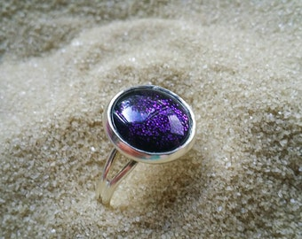 Purple Nail Polish Ring, Handpainted Glass Ring, Gifts for Teens, Glitter Ring, Holiday Gift Idea, Adjustable Ring, Glass Dome Ring,Purple