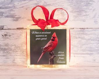 When a Cardinal Appears in Your Yard it's a Visitor From Heaven -- Glass Block -- Home Decor -- Unique Gift
