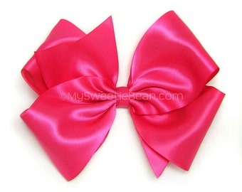 Shocking Pink Satin Hair Bow, Electric Pink 6 Inch Bow, Satin Boutique Bow for Flower Girls, Weddings, Womens Hair Bow for Girls 60 Colors