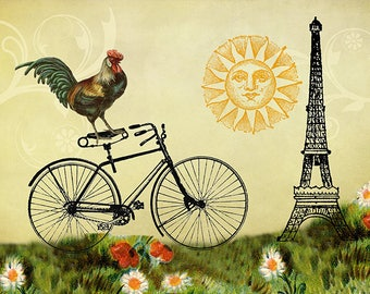Rooster Art, Whimsical Art, Rooster Decor, Bike Art, Bicycle Wall Art, Rooster Prints, Bike Decor, Eiffel Tower, Whimsical Prints