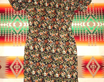 60s 70s Floral Print Dress Size Small.