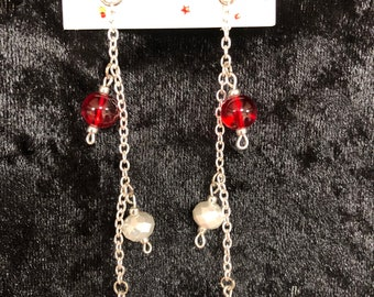Red, White and Blue Silver Chain Earrings