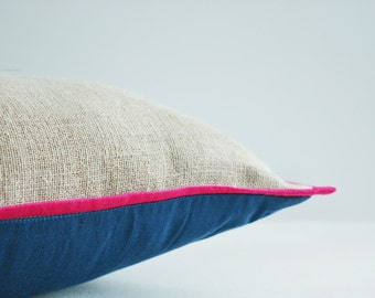 Natural Beige Linen Pillow Cover with accent Piping and Contrast Back , Natural Linen Accent Pillow