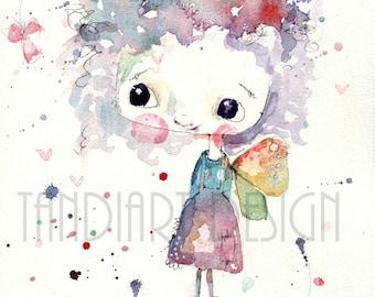 Ruby- art print, for a girl, fairy illustration, home decor, kids room