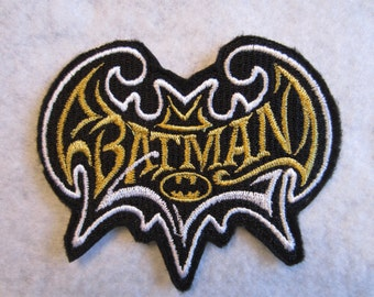Embroidered Batman Iron On Patch, Embroidered Batman Iron On Applique, Iron On Batman Patch, Iron on Batman Applique, Batman, Batman Patch