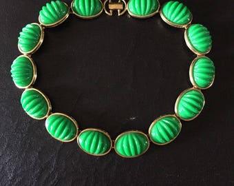 Monet Green Lucite Necklace