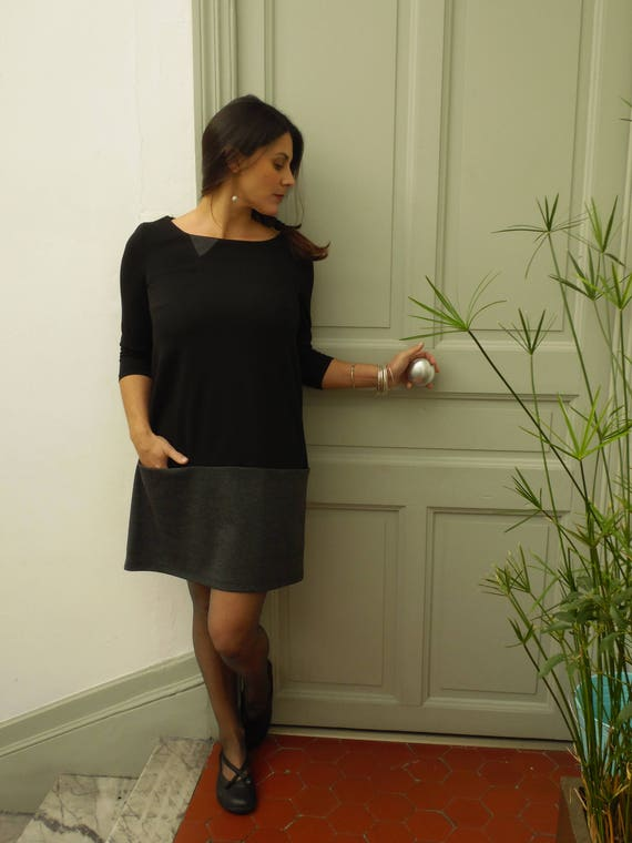 Black and gray dress winter dress short, two-tone line pockets, 3/4 sleeve dress, mesh milano. Other colors: white/blue pink/gray