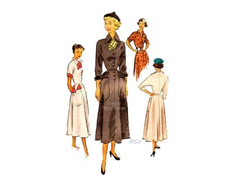 40s Shirt Dress Pattern McCall 7732, Vintage 1940s Dolman Sleeve Fit and Flare Dress with Pockets, Town & Country Style
