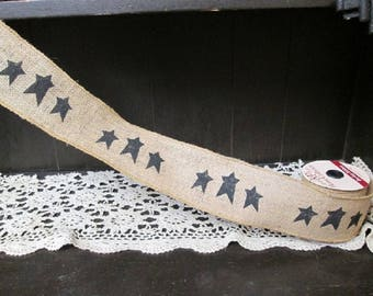 """Roll Wired 18Feet Black Stars Burlap Ribbon  3""""wide X 216"""" Country primitive Crafts"""