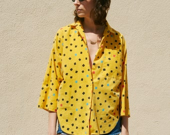 funky 1980's yellow printed button up