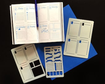 Set of 3 STENCILS, Bullet Journal stencil Bullet Stencils for , Filofax, Hobonichi,   Stencil for Erin Condren Life Planner