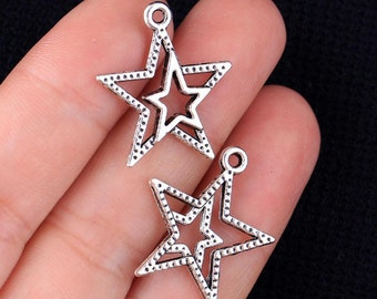 2 Double Star Charms, Antique Silver Tone (1M-121)