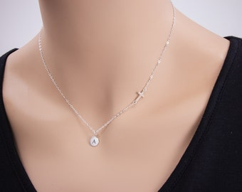 Small Sideways Cross with Initial Necklace, Personalized Necklace, Circle Disc Charm, Sterling Silver, Celebrity Inspired