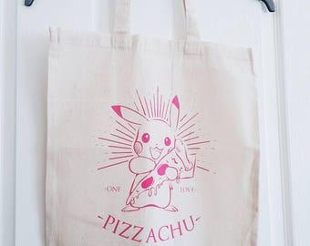 Pizzachu screen printed tote bag