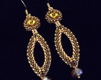 Drop Earrings, Dangle Earrings, Evening Earrings, Seed Bead Earrings, Bridesmaid Earrings, SunFlower Yellow Earrings,