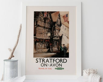 ENGLAND TRAVEL Poster  - STRATFORD upon Avon Travel Poster Vintage British Railways Travel Poster Vintage Train Poster Quality Reproduction